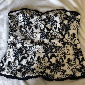 Black & white strapless top